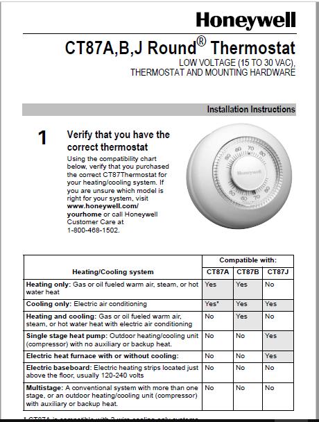 Honeywell CT87A,B,J Round® Thermostat Manual