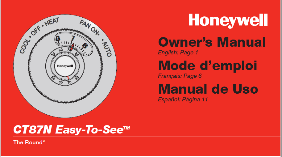 Honeywell CT87N Manual