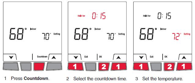 Honeywell EConnect TL9160AR Countdown mode Setting