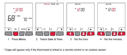 Honeywell EConnect TL9160AR Setting the time and the date