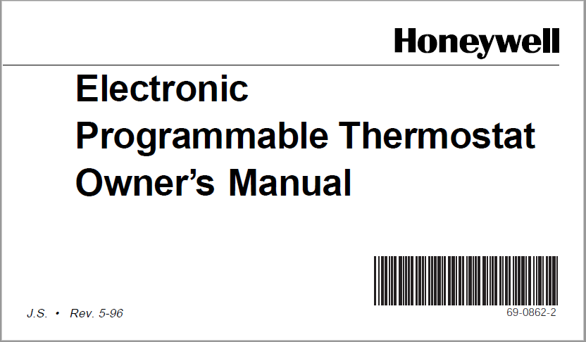 Honeywell Electronic Programmable Thermostat Owner's Manual