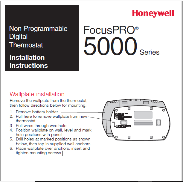 Honeywell FocusPRO® 5000 Series Installation Manual