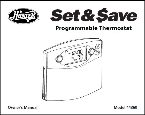 Honeywell Hunter Thermostat 44360 User's Manual