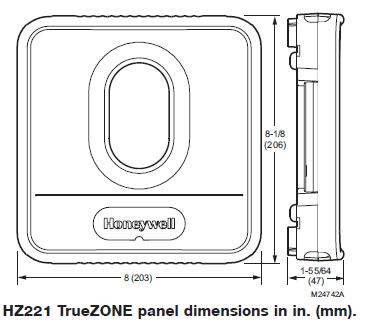 Honeywell HZ221 TrueZONE Dimension