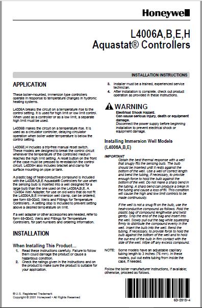 Honeywell L4006A,B,E,H Aquastat® Controllers Manual