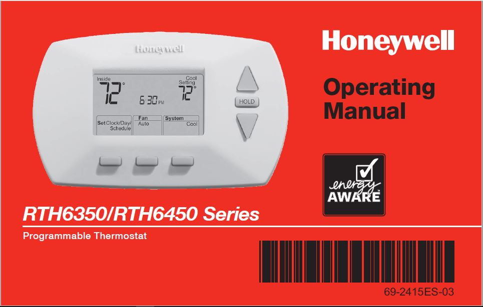 Honeywell lRTH6350-RTH6450 Series Operating Manual