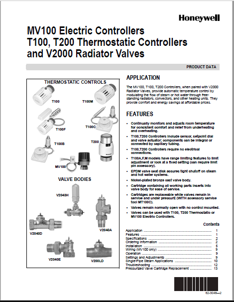Honeywell MV100 Electric Controllers T100 Product Data