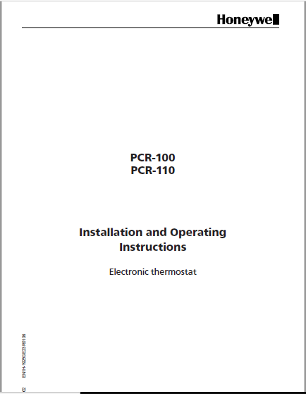Honeywell PCR-100, PCR-110 Installation Manual