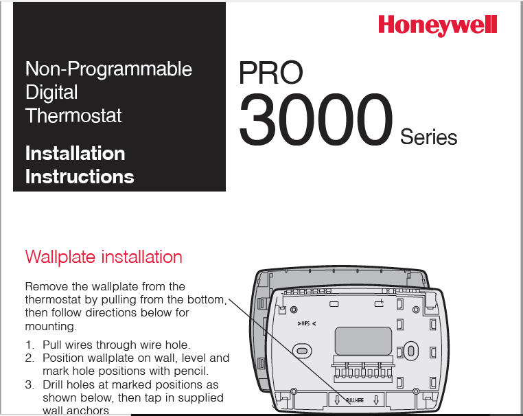 Honeywell PRO 3000 Series Manual