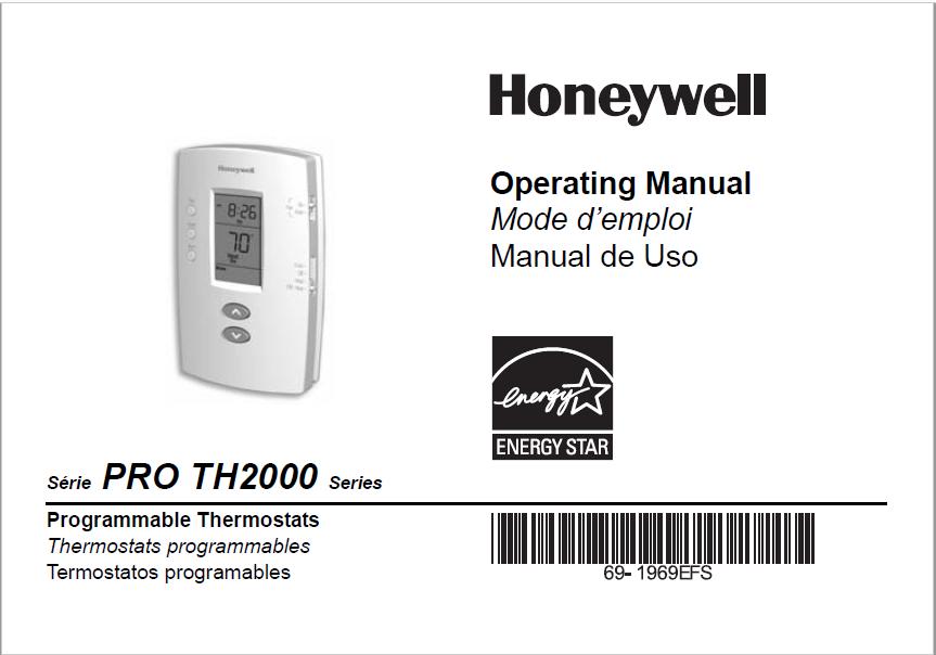 Honeywell PRO TH2000 Series Operating Manual