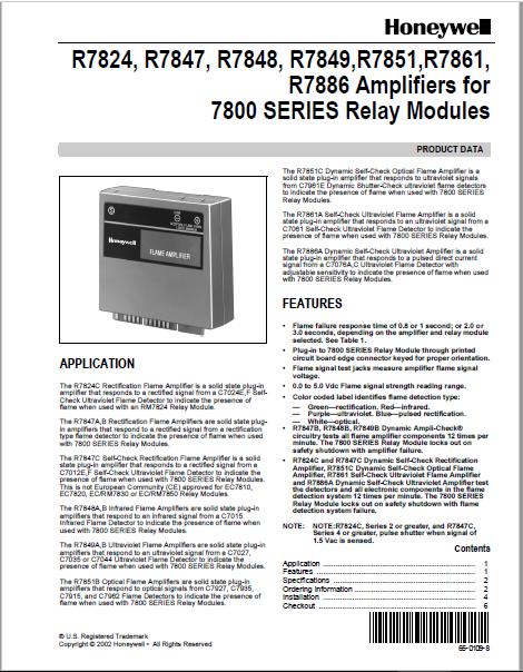 Honeywell R7824, R7847, R7848, R7849,R7851,R7861, R7886 Amplifiers for 7800 SERIES