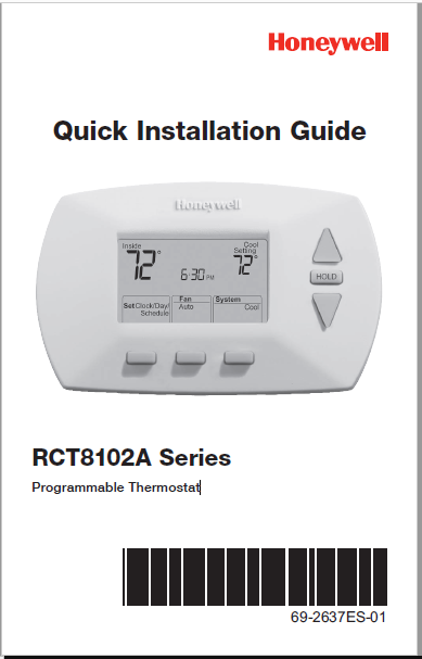 Honeywell RCT8102A Series Programmable Thermostat Manual