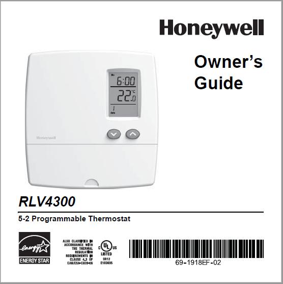 Honeywell RLV4300 Thermostat Manual