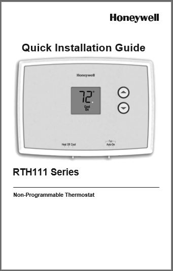 Honeywell RTH111B1024 Quick Installation Guide