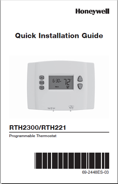 Honeywell RTH2300/RTH221 Installation Guide