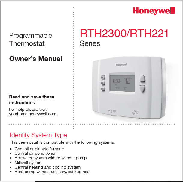 Honeywell RTH2300-RTH221 Owners Manual