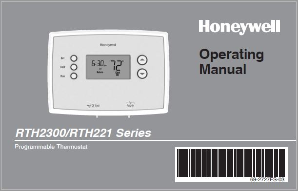 Honeywell RTH2300/RTH221 Series Operating Manual