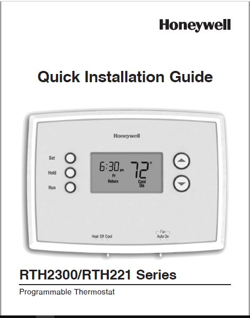 Honeywell RTH2300B1038 Quick Installation Guide