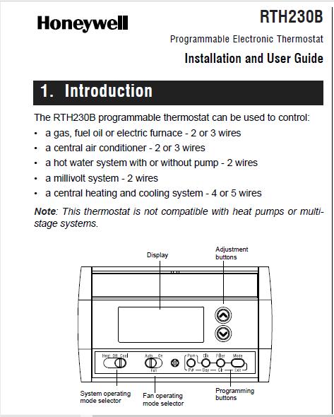 Honeywell RTH230B Installation Manual