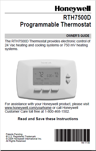 Honeywell RTH7500D Programmable Thermostat Manual