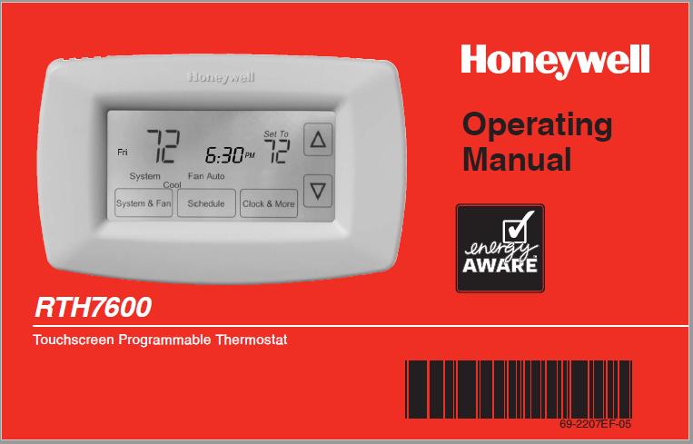 Honeywell RTH7600 Operating Manual