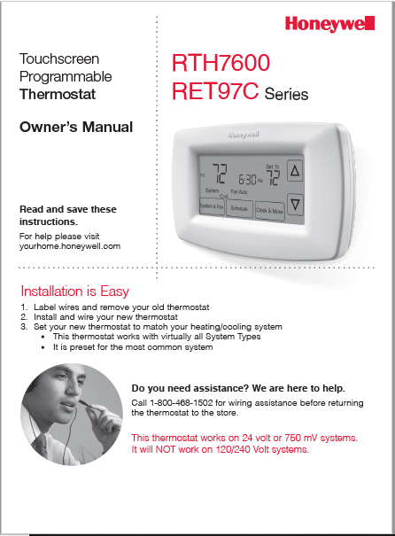 Honeywell RTH7600 - RET97C Manual