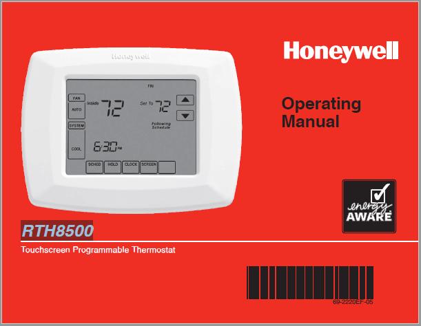 Honeywell RTH8500 Operating Manual