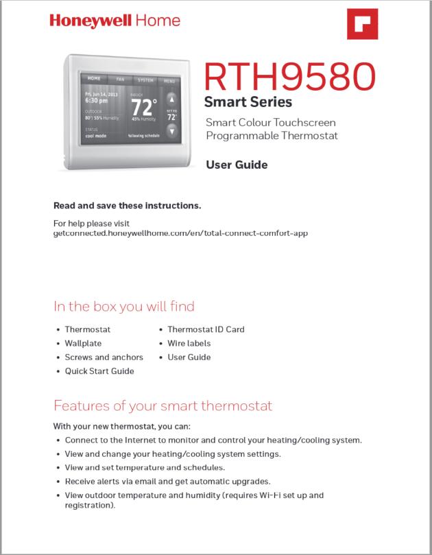 Honeywell RTH9580 Smart Series User Manual
