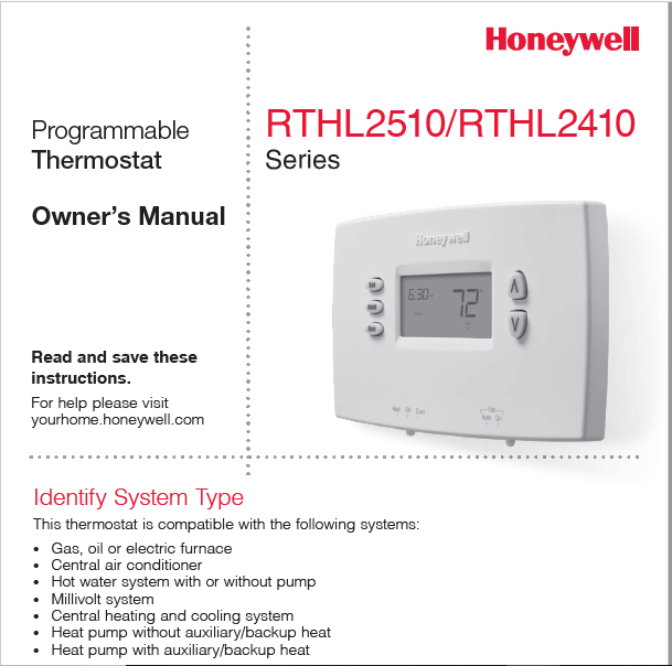 Honeywell RTHL2510/RTHL2410 Owners Manual