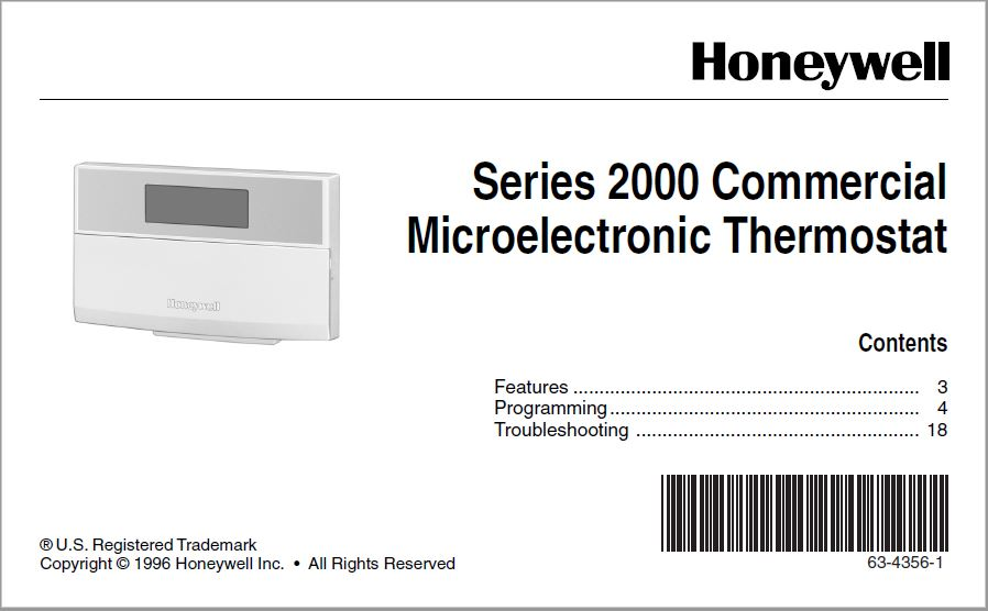 Honeywell Series 2000 Commercial Microelectronic Manual