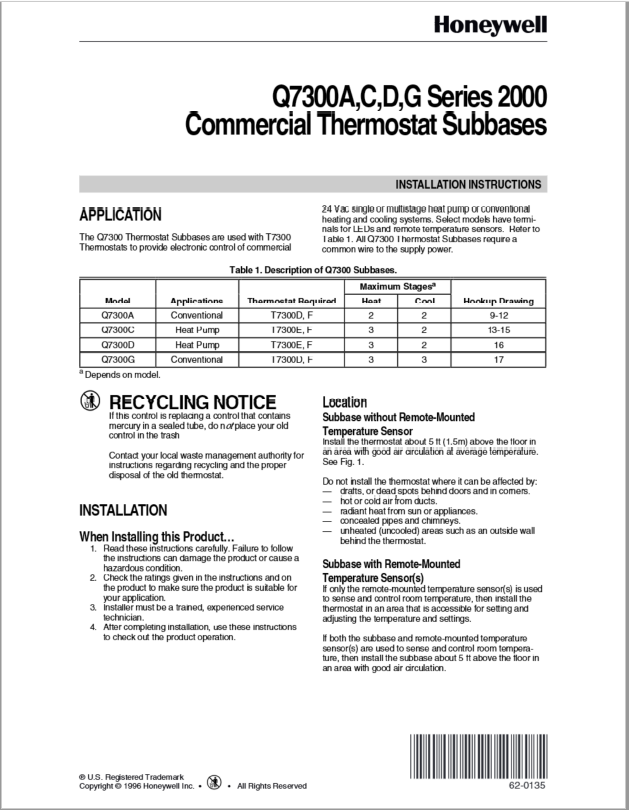 Honeywell Series 2000 Commercial Thermostat Manual