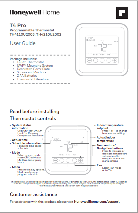 Honeywell T4 pro Series Thermostat Manual