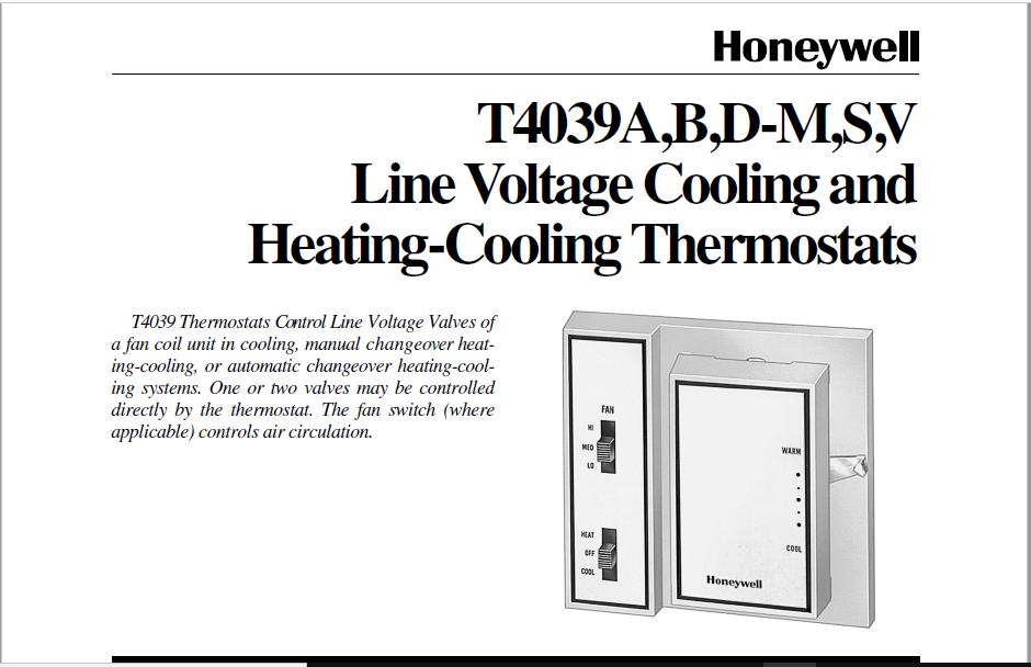 Honeywell T4039A,B,D-M,S,V Manual
