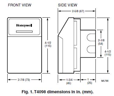 Honeywell T4098A,B Dimension