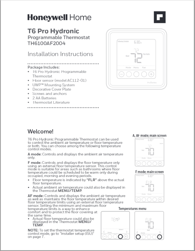 Honeywell T6 Pro Hydronic Programmable Thermostat Manual
