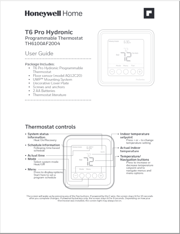 Honeywell T6 Pro Hydronic Programmable Thermostat User Manual