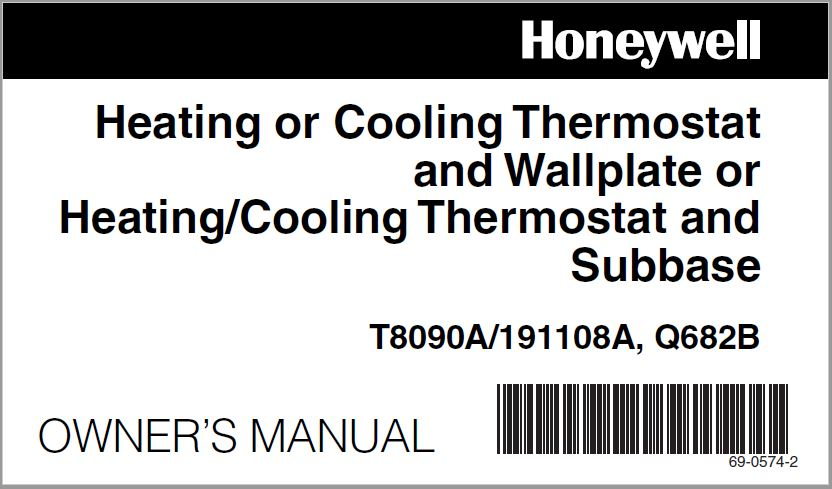 Honeywell T8090A -191108A Thermostat User Manual