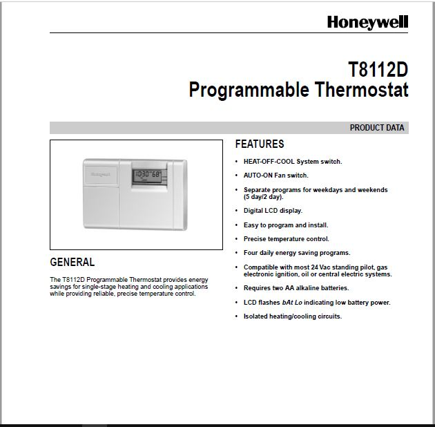 Honeywell T8112D Owner's Manual