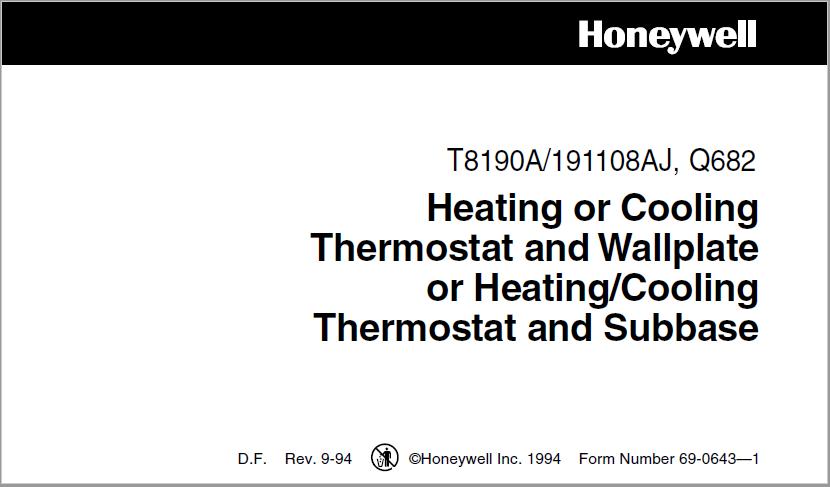 Honeywell T8190A Manual