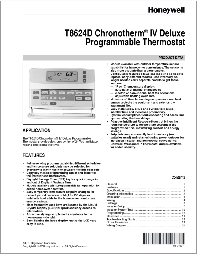 Honeywell T8624D IV Deluxe Chronotherm Thermostat Manual