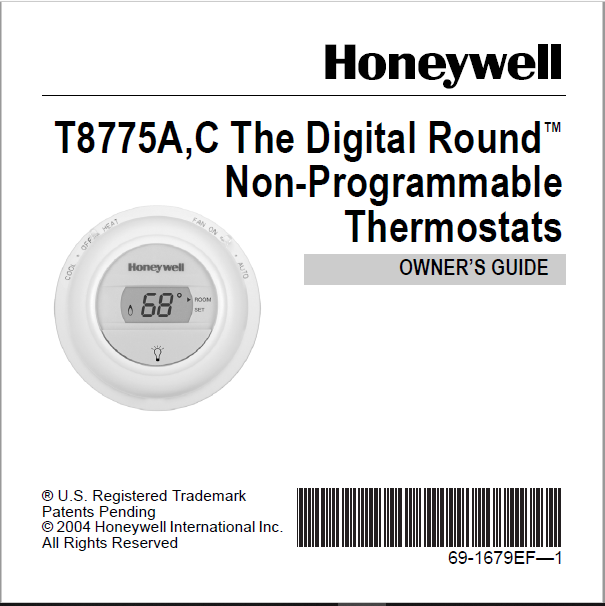 Honeywell T8775A,C The Digital Round Non-Programmable Manual