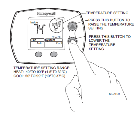 Honeywell TH5110D Change Temperature Setting