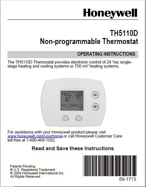 Honeywell TH5110D Non-programmable Thermostat Manual