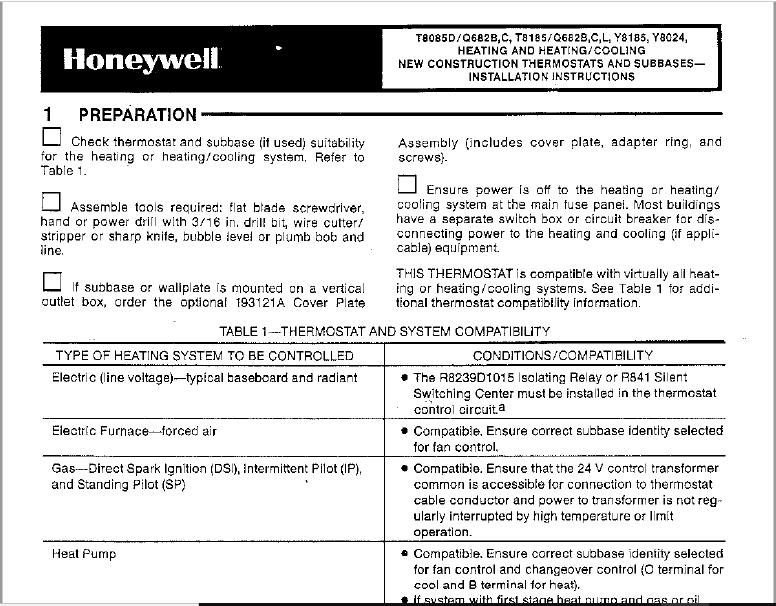 Honeywell Thermostat Q682C Users Manual