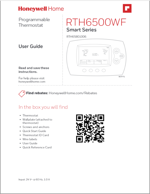 Honeywell Thermostat RTH6500WF Smart Series Manual