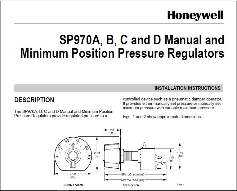 Honeywell Thermostat SP970A User Manual