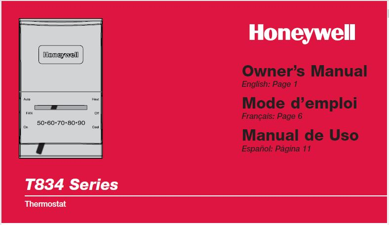 Honeywell Thermostat T834 Manual