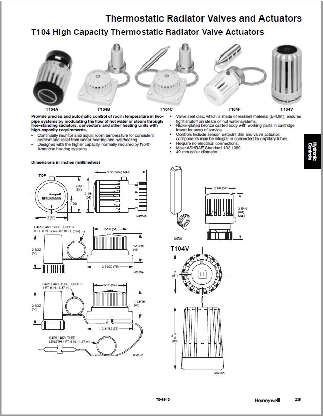 Honeywell Thermostatic Radiator Valves and Actuators