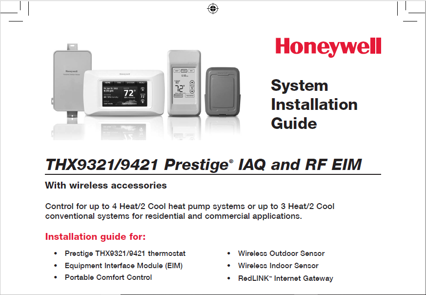 Honeywell THX9321/9421 Prestige IAQ and RF EIM Manual
