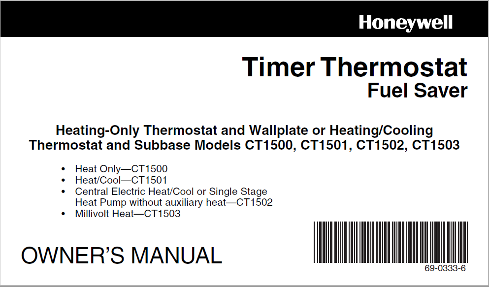 Honeywell Timer Thermostat Fuel Saver Owners Manua